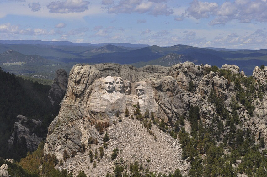 The faces of the presidents on Mount Rushmore