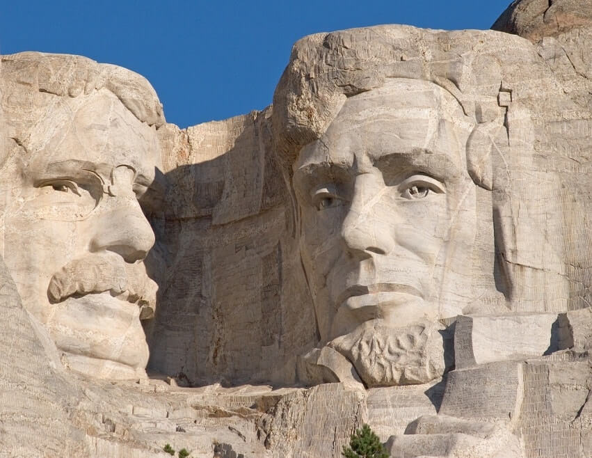 The faces of the presidents on the rock