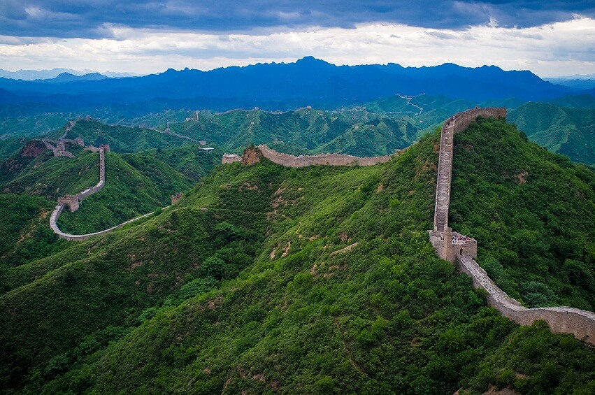 Top view of the Great Wall of China