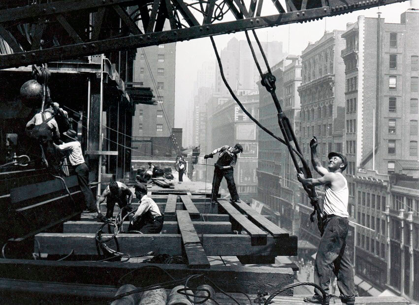 The construction of a skyscraper in Manhattan