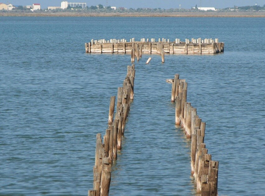 Pier on the waste lake