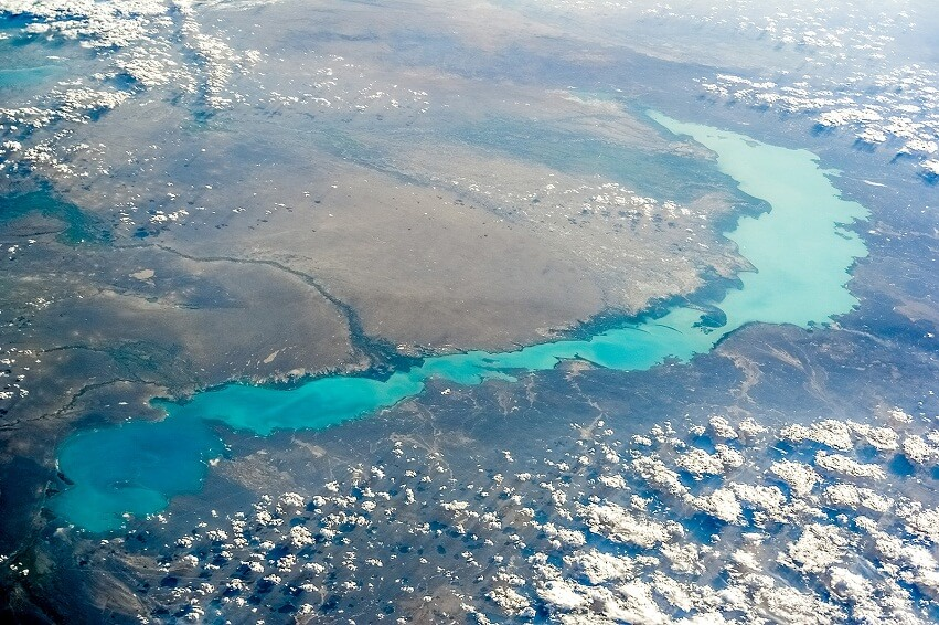 View from space on the lake Balkhash