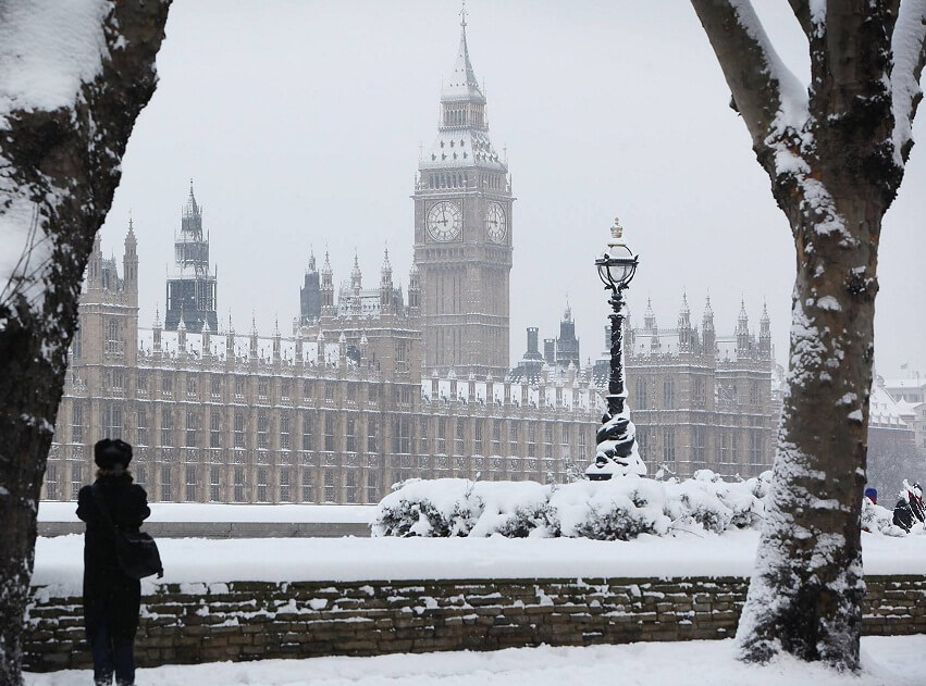 Big Ben watch in winter