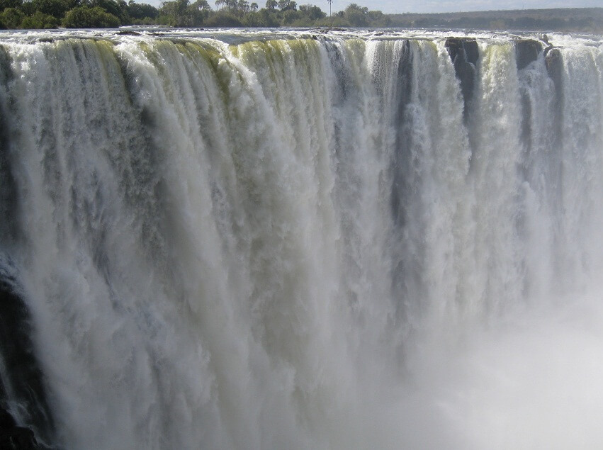 Water falls from a waterfall in Africa